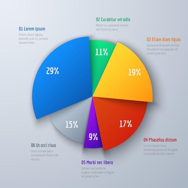 Negocio gráfico de información de la empanada 3d para la presentación y el trabajo de oficina. elemento infográfico vector Vector Premium