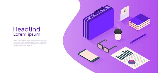 Negocio moderno del concepto isométrico del diseño. elementos infográficos. ilustracion vectorial Vector Premium
