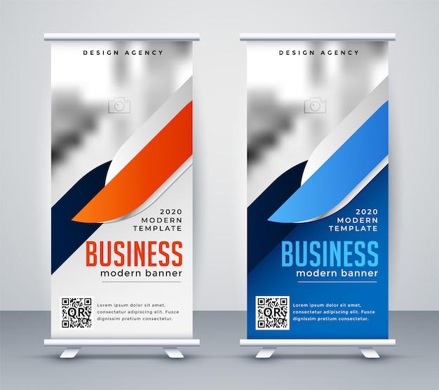 Negocio moderno roll up banner plantilla de diseño vector gratuito