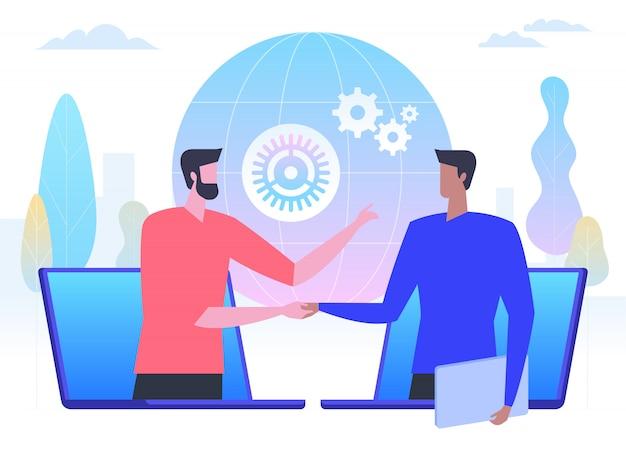 Negocios en línea, hombres de negocios dándose la mano a través de pantallas de portátiles, Vector Premium