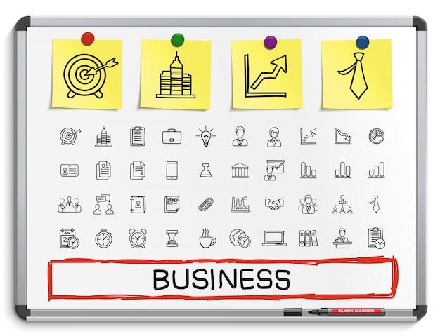Negocios mano dibujo línea iconos. conjunto de pictogramas de doodle, ilustración boceto en pizarra blanca con pegatinas de papel. finanzas, dinero, analítica Vector Premium