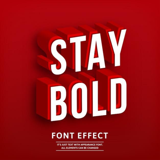 Negrita fuerte 3d rojo efecto de texto isométrico Vector Premium