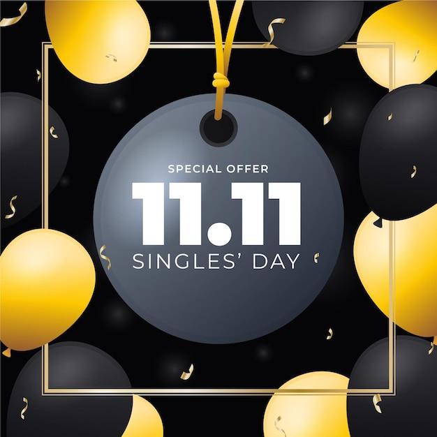 Negro y dorado para el día de los solteros con globos y confeti vector gratuito