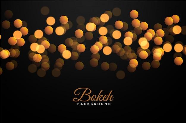 Negro con efecto bokeh dorado vector gratuito