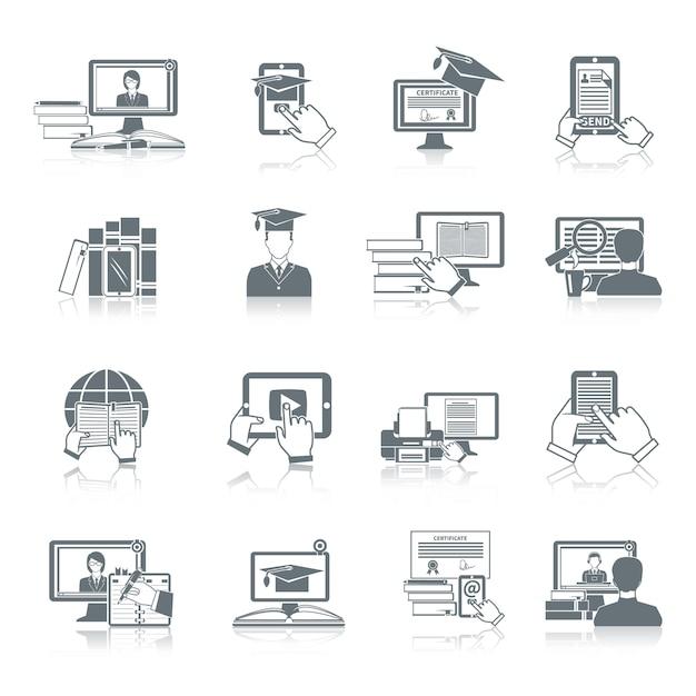 El negro en línea del icono de la educación fijó con la investigación a distancia tutoriales digitales y los símbolos de prueba aislados ilustración vectorial Vector Premium