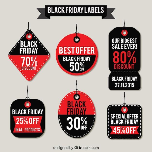 Negro Viernes colección de etiquetas Vector Premium