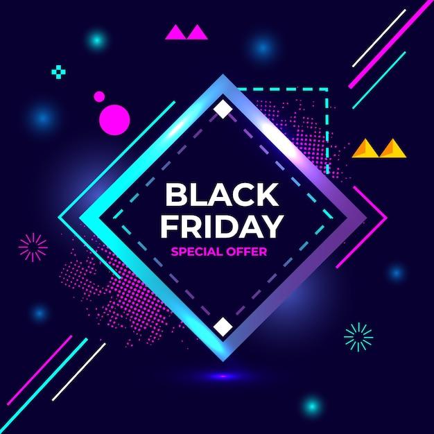 Negro viernes oferta especial flash venta creativo geometría banner Vector Premium