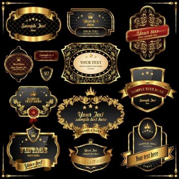 negro y oro marcos retro labels2 Vector Gratis