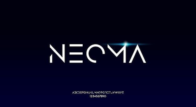 Neoma, una fuente de alfabeto futurista geométrica fina fina con tema tecnológico. diseño de tipografía minimalista moderno Vector Premium