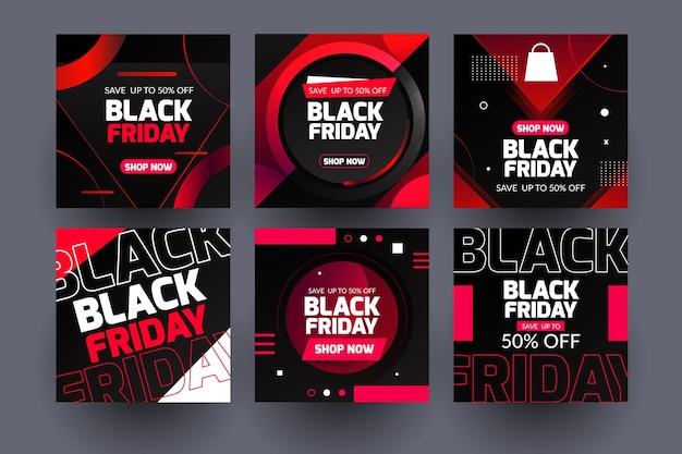 Neon black friday publicaciones de instagram vector gratuito