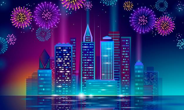 Neón brillante rascacielos vacaciones navidad paisaje urbano. año nuevo línea de punto poligonal azul oscuro cielo nocturno víspera plantilla de tarjeta de felicitación. silueta de ciudad de fiesta de luz brillante Vector Premium