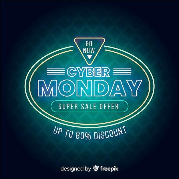 Neon cyber lunes super venta banner vector gratuito