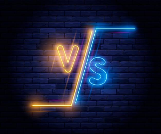 Neón iluminado versus pantalla Vector Premium