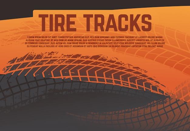 Neumático huella pistas ilustración. marcas de carretera de neumáticos de carreras de grunge. resumen moto rally ilustración vectorial Vector Premium