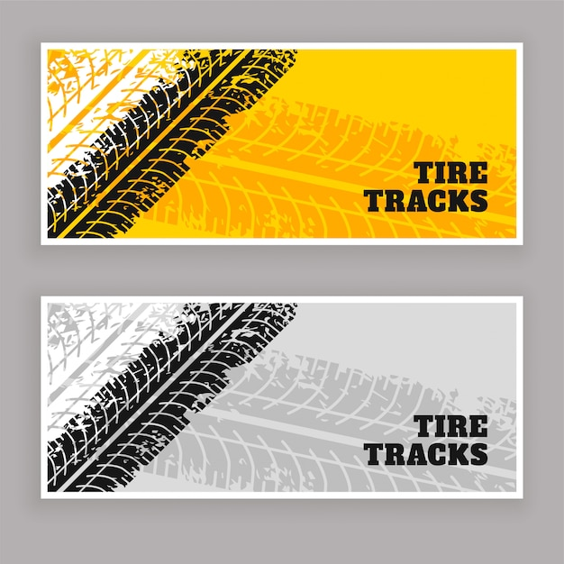 Neumático pistas banners grunge fondo vector gratuito