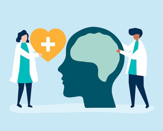 Neurocientíficos con una gigantesca gráfica del cerebro humano. vector gratuito