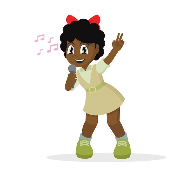 Niña africana cantando Vector Premium