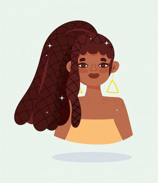 Niña afroamericana con cabello rasta trenzas personaje de dibujos animados ilustración vectorial Vector Premium