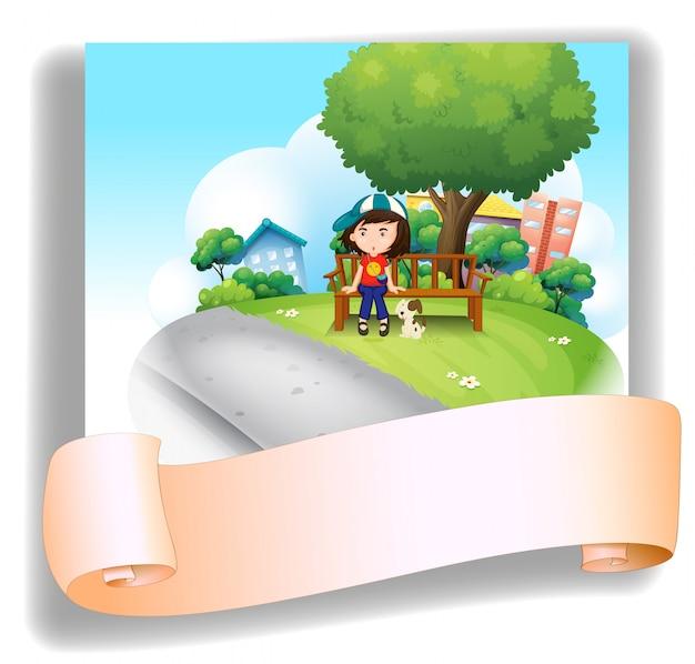 Una niña en el banco con su mascota en la parte posterior de una plantilla vacía vector gratuito