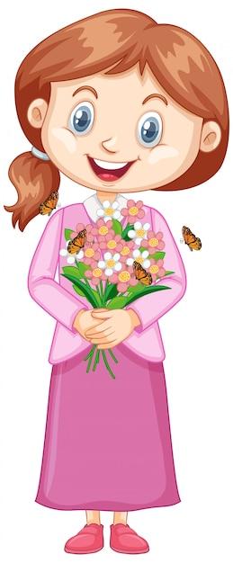 Niña con bonitas flores en blanco vector gratuito