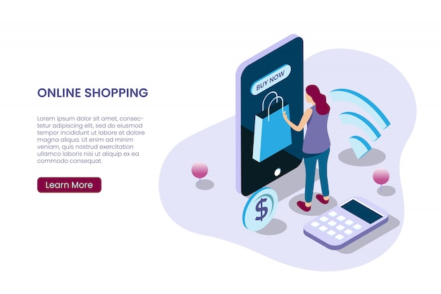 Una niña comprando en línea en estilo de ilustración isométrica Vector Premium