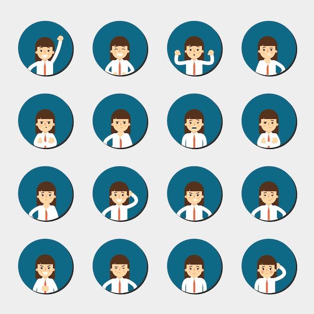 Niña de dibujos animados expresando diferentes emociones Vector Premium