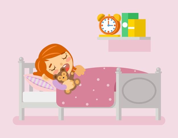 Niña durmiendo en la cama debajo de una manta con osito de peluche. vector gratuito