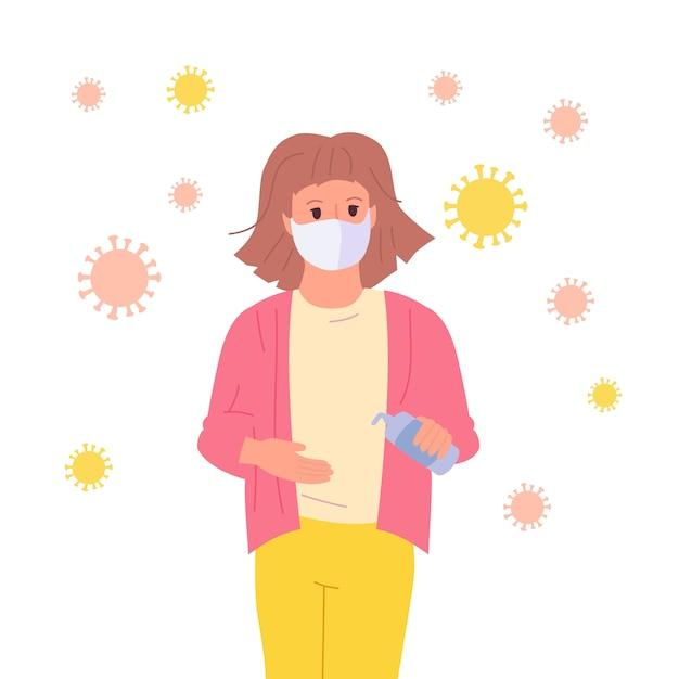 Niña enmascarada utiliza un desinfectante, detener pandemia niño personaje de dibujos animados. coronavirus en el aire, concepto contra Vector Premium