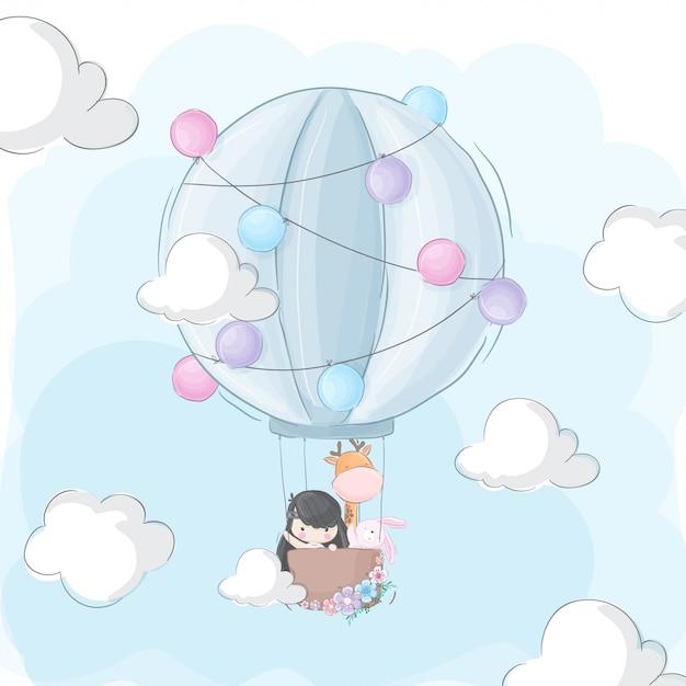 Niña feliz y animal volando en globo aerostático Vector Premium