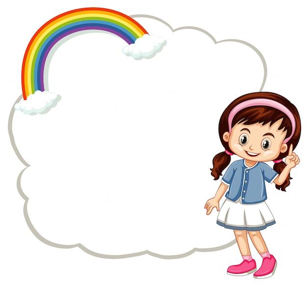 Niña feliz con banner de nube vector gratuito