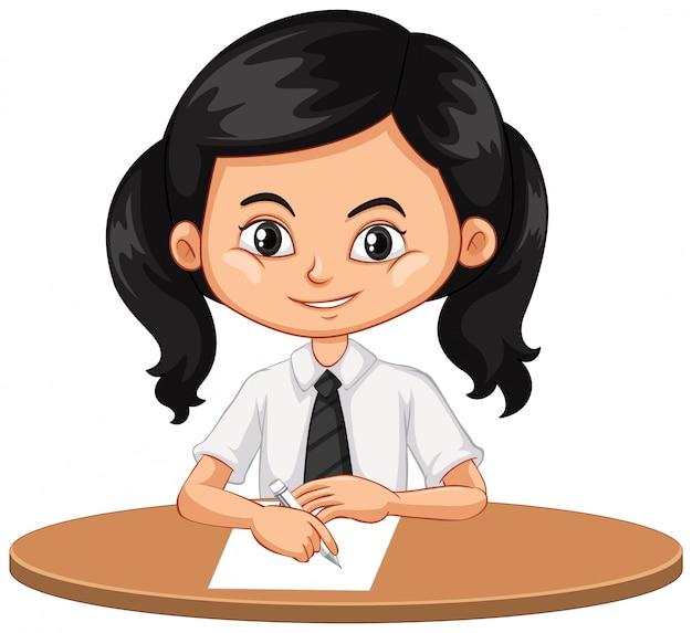Una niña feliz escribiendo en papel vector gratuito