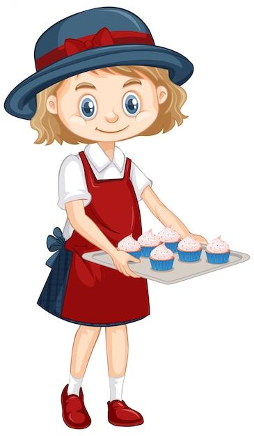 Una niña feliz con prueba de cupcakes vector gratuito