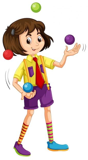 Una niña haciendo malabares con la pelota vector gratuito