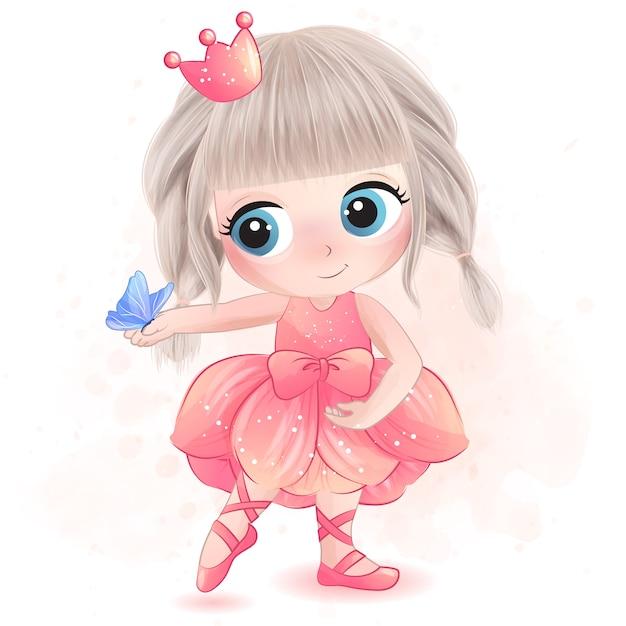 Niña linda con la ilustración de la bailarina Vector Premium
