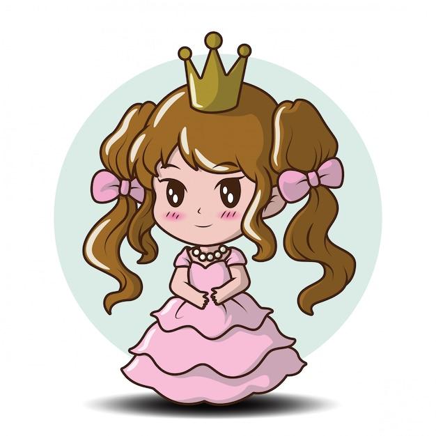 Niña linda con una princesa., concepto de dibujos animados de cuento de hadas. Vector Premium