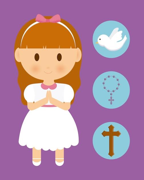 Niña, niño, caricatura, paloma, cruz, rosario, icono Vector Premium