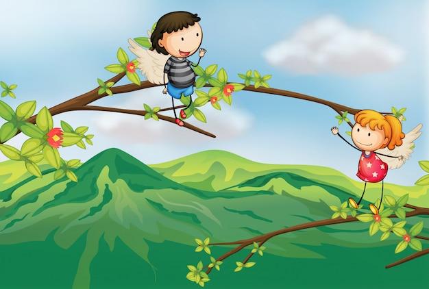 Una niña y un niño en una rama de un árbol. Vector Premium