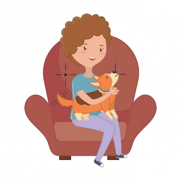 Niña con perro de dibujos animados | Vector Premium