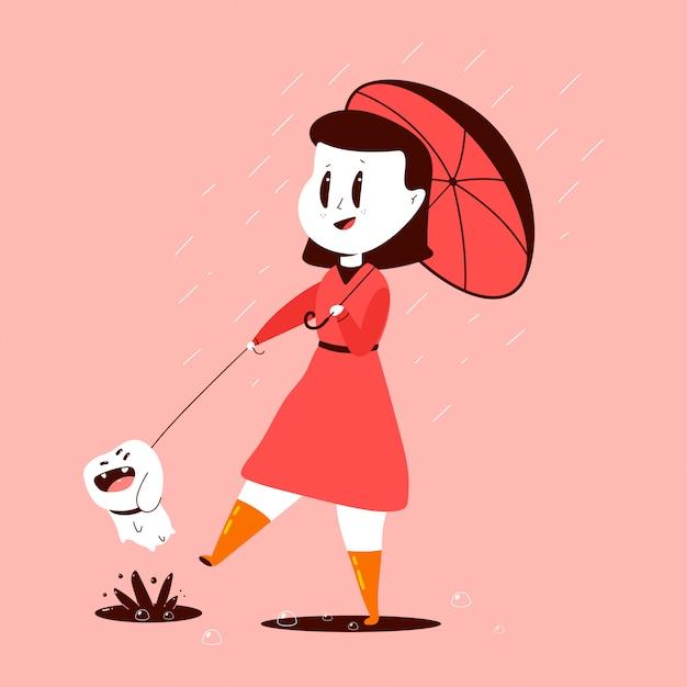 Niña y perro con un paraguas bajo la lluvia ilustración de dibujos animados aislado en el fondo. Vector Premium