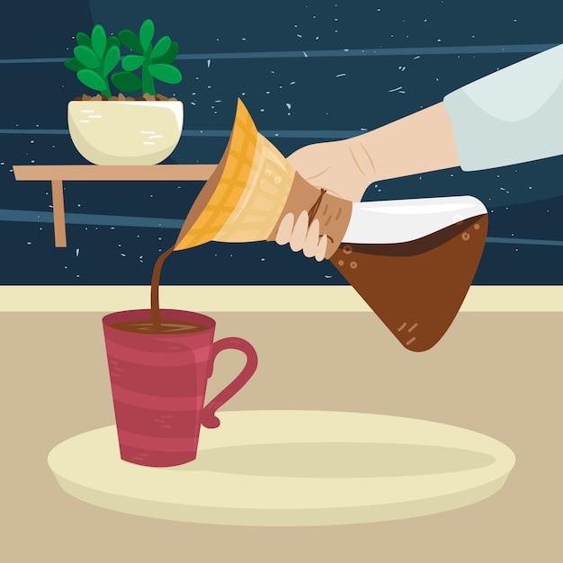 La niña sirve café de la cafetera de filtro a la taza de