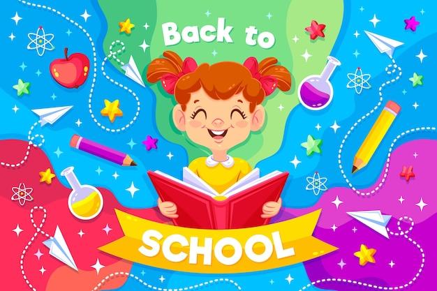 Niña sonriente ilustrada con mensaje de regreso a la escuela vector gratuito