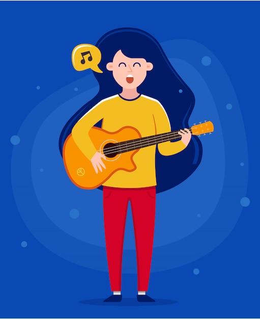 Niña sosteniendo una guitarra y cantando una canción Vector Premium