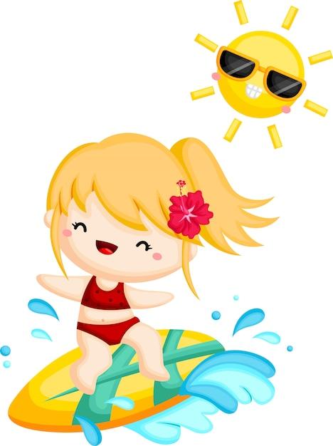 Una niña surfeando la ola en un día soleado Vector Premium