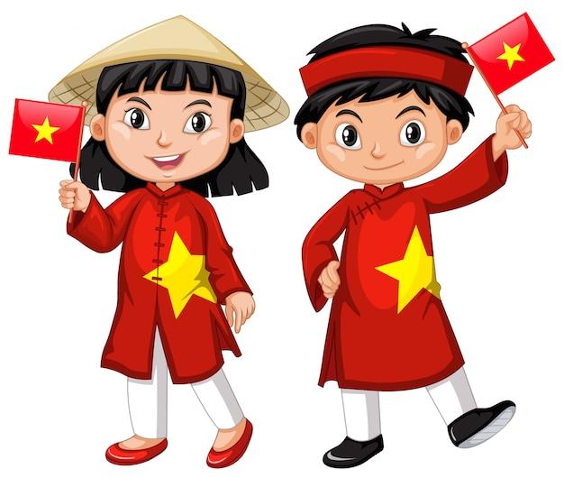Niña vietnamita y niño en traje rojo vector gratuito