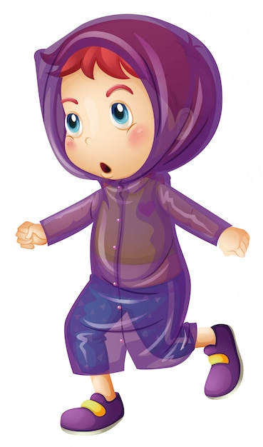 Niña vistiendo impermeable púrpura vector gratuito