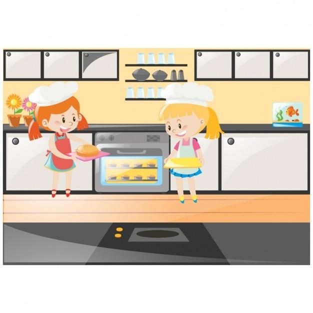Ni as cocinando en la cocina descargar vectores gratis - Nina cocinando ...