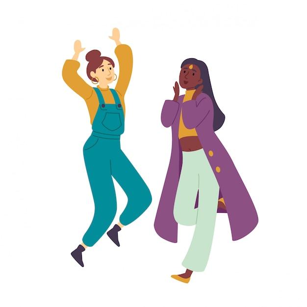 Niñas disfrutando de la fiesta de baile mujeres hermosas jóvenes bailando. Vector Premium