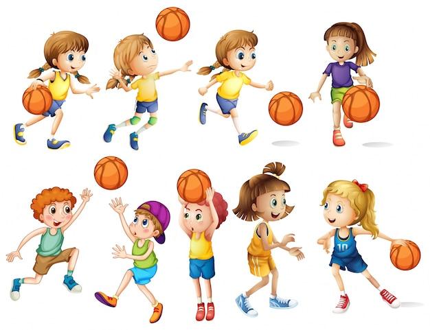 Niñas y niños jugando al baloncesto vector gratuito