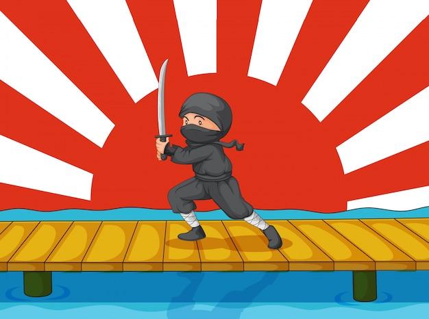 Ninja de dibujos animados vector gratuito
