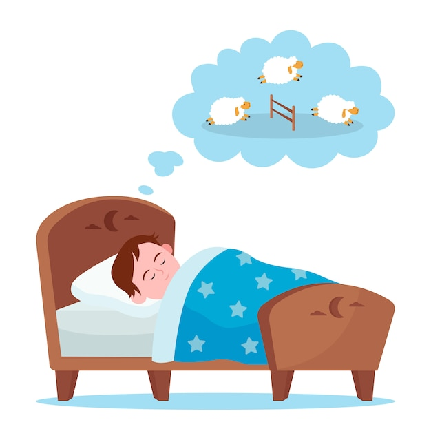 Niño acostado en la cama y contando ovejas vector gratuito